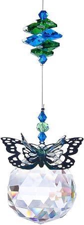 Handmade 2pcs 30mm Crystal Ball Prisms Butterfly Dragonfly Suncatchers Window Hanging Ornament Rainbow Maker for Home,Garden Decor