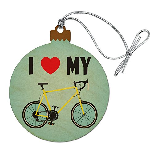 Graphics and More I Love My Bike Road Bicycle Cycling Wood Christmas Tree Holiday Ornament (Bicycle Ornament Holiday)