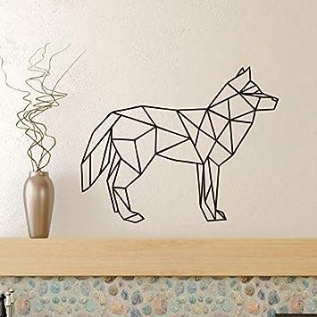 Lobo geométrico dormitorio Sala de estar Etiqueta de Vinilo Animal ...