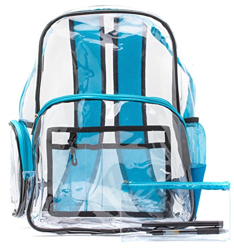 Saucey Chic New! Durable Quality Clear Backpack Blue, Transparent, Free Pencil Case!, See-Through with Adjustable Padded Straps for Work, School, College, Kids and Adults (Blue and Black)