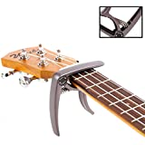 Takit Guitar Capo For Acoustic And Electric Guitar - Also For Ukulele, Banjo And Mandolin - Single-Handed Professional High Performance Trigger Action Style Built Of Zinc Alloy - Coffee