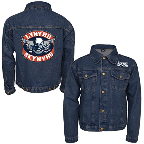 Lynyrd Skynyrd Men's Biker Patch Denim Jacket Denim Jacket Small Denim by Lynyrd Skynyrd