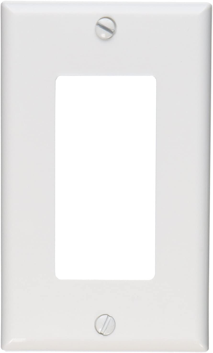 Leviton 80401-NW 1-Gang GFCI Decora Wallplate, Standard Size, Thermoplastic Nylon, Device Mount, 20-Pack, White, 20 Piece