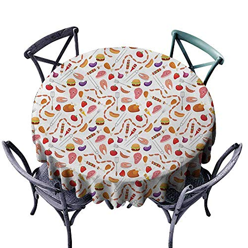 Restaurant Tablecloth BBQ Party Grilling Themed Food Elements Hamburger Hotdog Steak and Sausage Pattern Cooking Multicolor Great for Buffet Table D43 ()