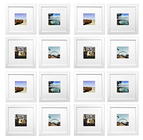 Golden State Art, Smartphone Instagram Frames Collection,Set of 16, 8x8-inch Square Photo Wood Frames with White Photo Mat & Real Glass for 4x4 photo, White (Photo Real Art)