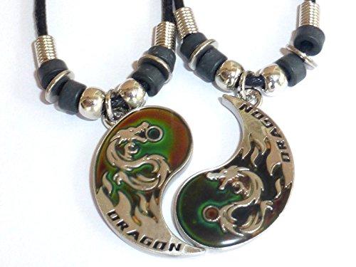 Ying Yang Dragons - BEST FRIEND Mood Dragon Yin Yang 2 Pendants Necklace Set BFF Friendship