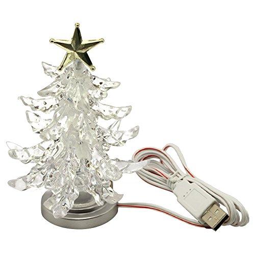 Novedad en Miniatura Forma de árbol de Navidad Color Cambio de Lámpara de luz de Noche LED USB