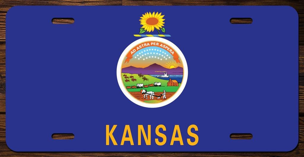 Kansas State Flag Vanity Front License Plate Tag Printed Full Color KCFP010 KCD