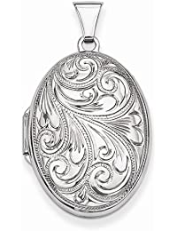 Solid 925 Sterling Silver Scroll Oval Locket Opens Engravable Pendant (32mm Height x 19mm Width)