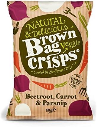 Brown Bag Crisps Beetroot, Carrot & Parsnip Veggie Crisps, 40 g (Pack of 15): Amazon.co.uk: Grocery