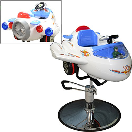 LCL Beauty Childrens White Airplane Hydraulic Child Kid's Barber Styling Chair Salon Beauty - Chair Barber Kids Car