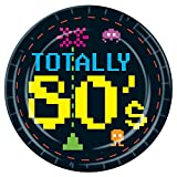 Pack of 96 Disposable Black and Neon Pixel''Totally 80's'' Dinner Plates 9''