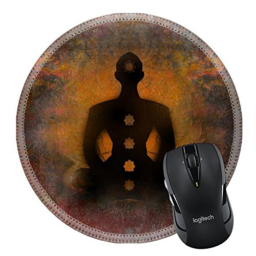 Price comparison product image MSD Mousepad Round Mouse Pad/Mat 26972082 Yoga lotus pose Padmasana with chakra points