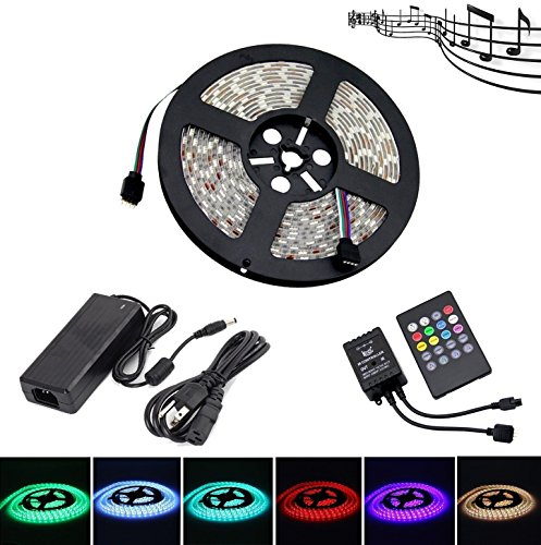 LEHOU Music LED Strip Lights,IP65 Waterproof 5050 SMD 300LEDs RGB Strip Light Kit,5M Multicolor Music Activated LED Rope Lights with 20 Key IR Music Controller + 12V 6A Power Supply