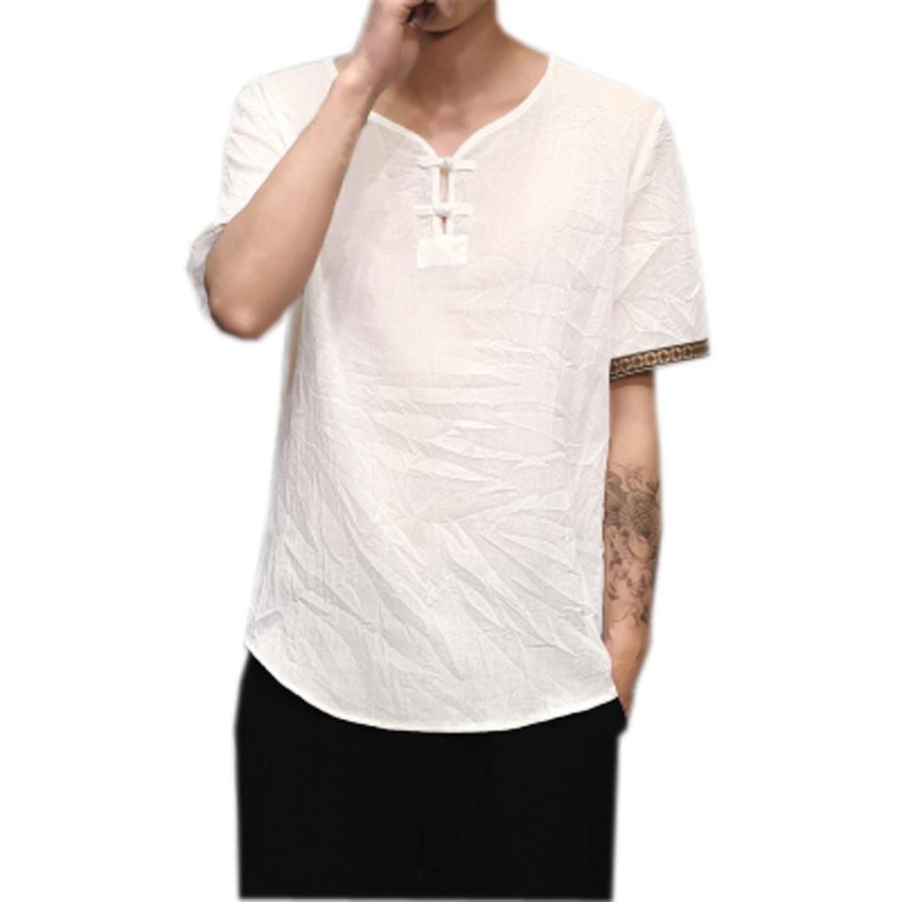 263b496a498f4 Moonuy Chemises en lin Traditionnels Occasionnels à Manches courtes col en  V Tops lâche Blouse Homme Respirant T-shirt en lin Slim Fit Stand col Rond  ...