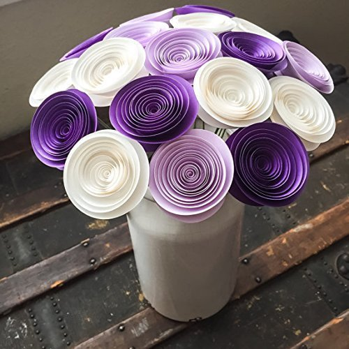 12 Paper Flowers Stemmed - Purple Roses - Lilac - White - Wedding Flowers - Home Decor - Baby Shower - Table Centerpieces - Bouquet Alternative