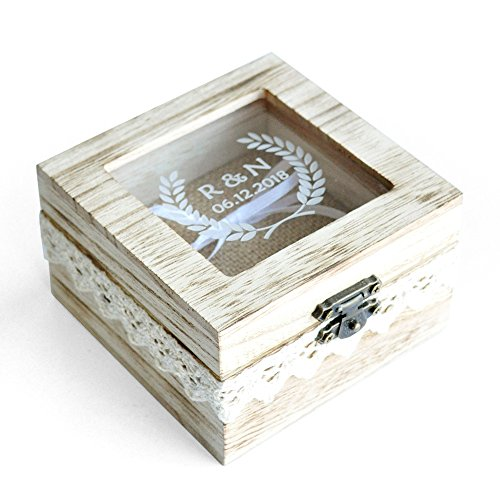 Personalized Wedding Ring Box Custom Wood Wedding Ring Box Rustic Wedding Ring Bearer Box by weddinghanger2015 (Image #4)