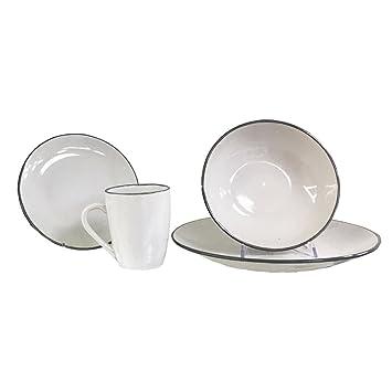 brandani piatti set tavola poker bianco 16 pz stoneware