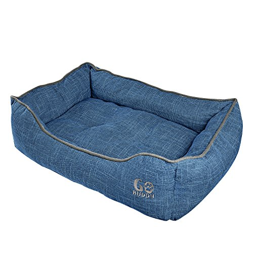 Dog Luxury Bed Donut (GOBUDDY Square Pet Bed For Cats & Dogs - Ultra Soft & Comfortable Cuddler Pet Bed - Reversible Removable Linen Cushion Prevents Overheating - Improves Sleep For Small, Medium & Large Animals)
