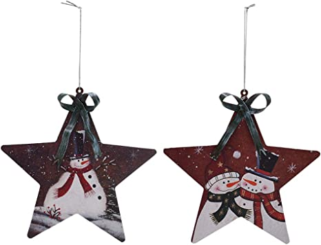 Amazon Com Rustic Metal Star Ornament For Christmas Tree Decoration With Snowman Pattern Christmas Hanging Ornament Xmas Holiday Decor Home Kitchen
