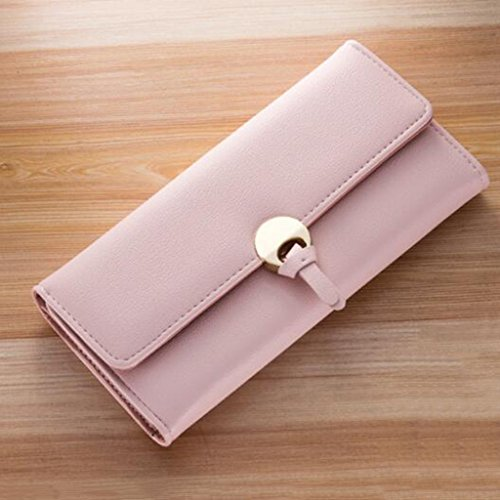 Unterarmtasche Brieftasche Dame Long Fashion Einfache Kreuz Schnalle PU Leder Damen Geldbörse Kupplung (Größe: 18,7 * 1,2 * 9,5 cm) (Farbe : Schwarz) Hell-pink
