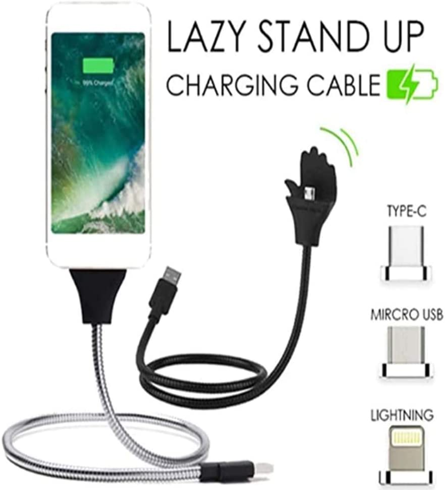 2 in 1 palm-shaped stand data cable metal stand flexible charging cable multifunctional lazy snake support line suitable for iPhone//Android//Type-C smartphone 50CM compatible for iPhone,Silver