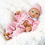 Paradise Galleries Teddy Bear Twin Abigail, 16 inch Baby Doll in Vinyl, Weighted Body