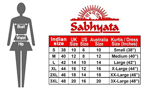 SABHYATA Womens Kurta Indian Kurtis for Women Rayon Casual Tunic Top Long Dress Mandarin Collar Large Multi by SABHYATA (Image #5)