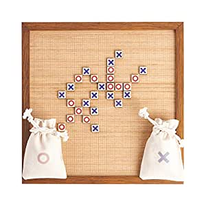 Premium Wooden Tic Tac Toe Board Game - Outdoor/Indoor Game for Children/Adults - Perfect for Backyard Games