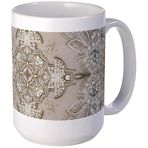 - CafePress Glamorous Girly Rhinestone Lace Pearl Mugs Coffee Mug, Large 15 oz. White Coffee Cup