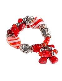 HUAN XUN Women's Bead Elastic Stretch Bracelets Natural Stone Heart Charm Bracelet