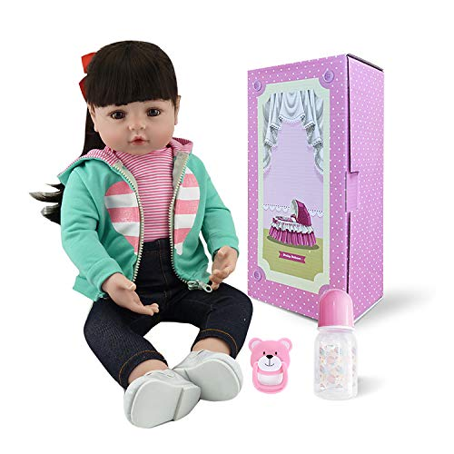 - Pinky Lovely 18 Inch 45cm Soft Silicone Babies Dolls Black Long Hair Reborn Baby Girl Doll Realistic Looking Real Newborn Doll Toddler Toy for Kid Birthday Xmas Gift