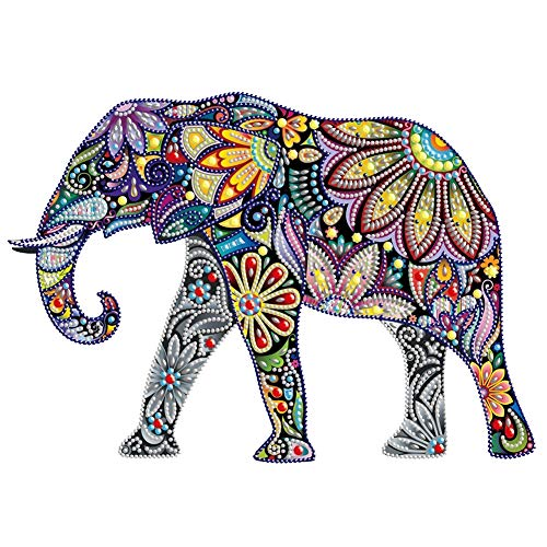 HuaCan Diamond Painting Kits for Adults DIY 5D Special Shape Partial Drill Crystal Rhinestone Embroidery Pictures Arts Craft for Home Wall Decor Elephant A 26x34cm (Diamond Art Jewelry)
