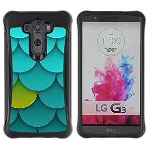 Híbridos estuche rígido plástico de protección con soporte para el LG G3 2014 Smart Phone - palmette pattern green blue unique