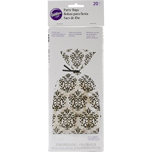 Damask Party Favors (Wilton 1912-9026 20/Pack Damask Treat Bag, Black and)