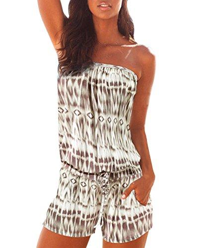 Women's Cute Romper Summer Strapless Jumpsuit Shorts Off Shoulder Beachwear XL (Summer Top Tube)