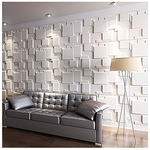 Art3d 3D Wall Panels for Interior Wall Decoration Brick Design Pack of 6 Tiles 32 Sq Ft (Plant Fiber) (Tile Modern Wall)
