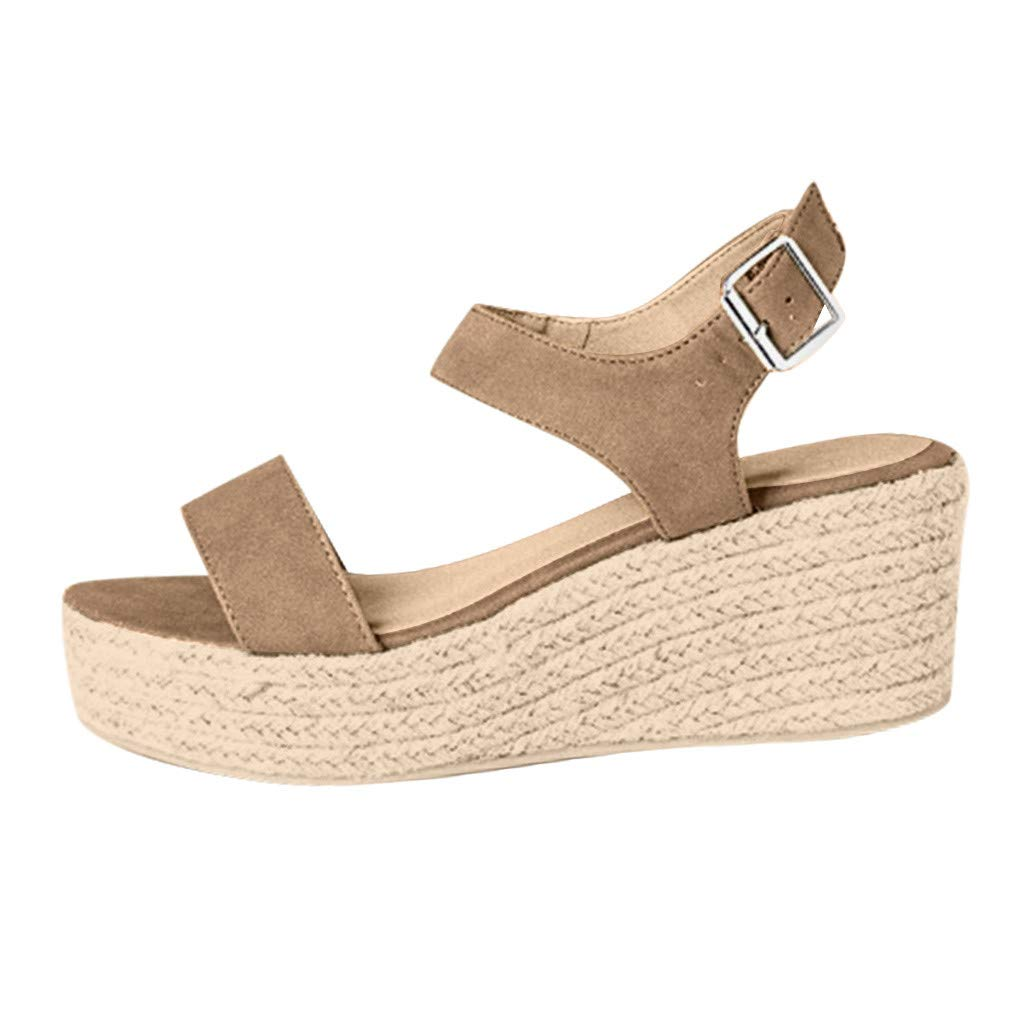 Clearance! Swiusd Womens Girls Wedges Sandals Retro Slingback Ankle Strap Buckle Open Toe Roman Sandals Comfy Beach Shoes (Beige, US 6) by Clearance! Swiusd