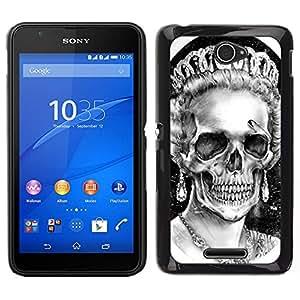 Caucho caso de Shell duro de la cubierta de accesorios de protección BY RAYDREAMMM - Sony Xperia E4 - Corona de la reina Blanca Negro cráneo muerto