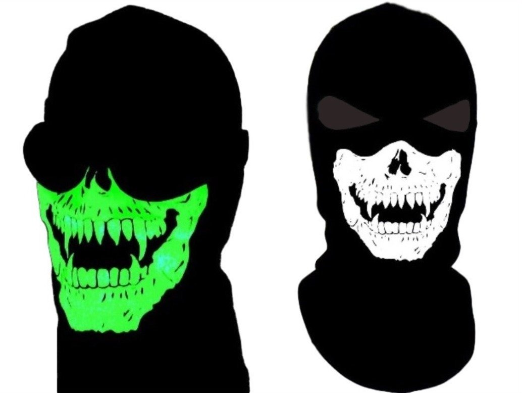 Adult Size Ghost Balaclava With Glow In The Dark Vampire Fangs Skull Jawbone Balaclava Mask Ninja Ski Swat Full Face Narrow Eyes Hood