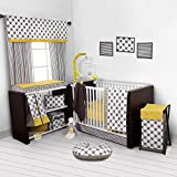 Bacati - Dots/pin Stripes Grey/yellow 10 Pc Crib Set Without Bumper Pad