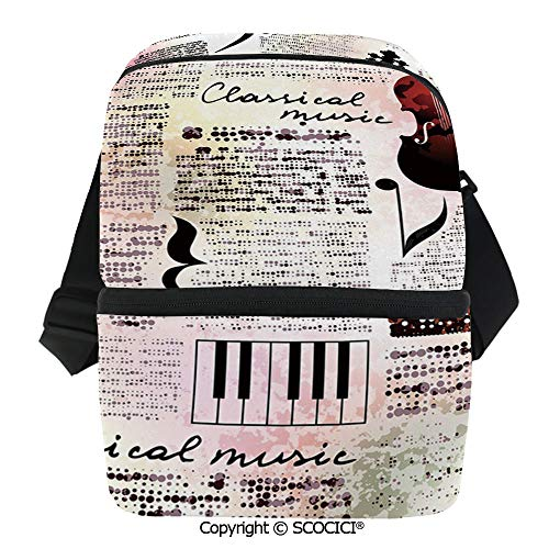 SCOCICI Insulated Lunch Cooler Bag Classical Music Theme