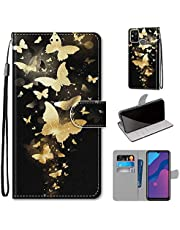 Miagon Full Body Case for Huawei Honor 9A,Colorful Pattern Design PU Leather Flip Wallet Case Cover with Magnetic Closure Stand Card Slot,Gold Butterfly
