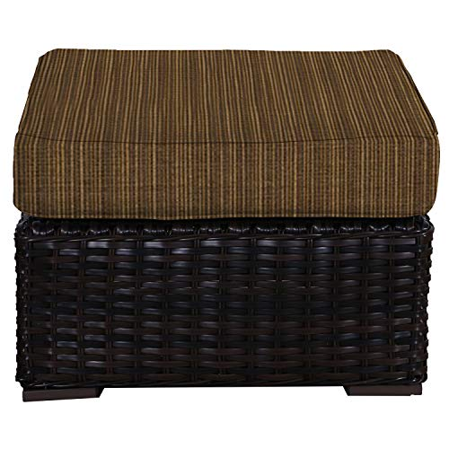 Envelor Santa Monica Outdoor Patio Furniture Durable Wicker Rattan Ottoman Stool Foot Rest Includes Oak Dupione Sunbrella Cushions ()