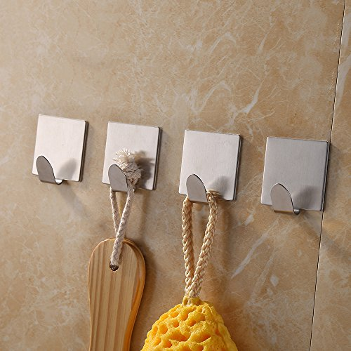 KES Self Adhesive Hooks Key Rack SUS 304 Stainless Steel Garage Storage Organizer Stick On Sticky Bathroom Kitchen Towel Hanger Wall Mount Contemporary Style 4 Pack, Brushed Finish, A7062-P4