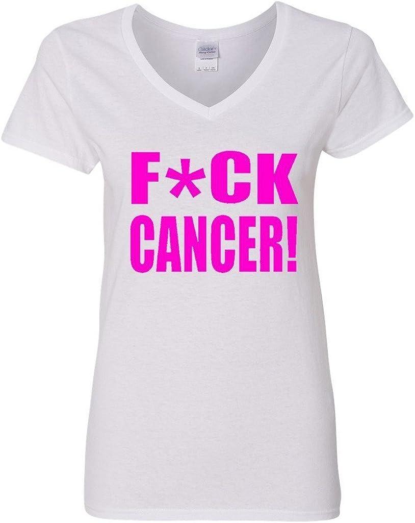 onekee V-Neck Ladies FCK Cancer Sucks Fight Funny T-Shirt Tee Tshirt