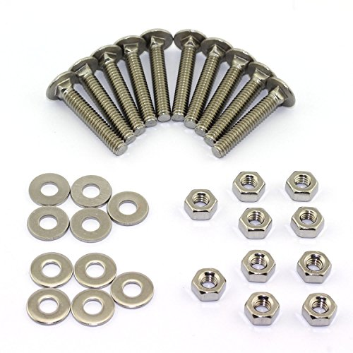 10 Set Carriage Bolt Sets 304 Stainless Steel Carriage Screw Hex Nut and Flat Washer Kits 1/4-20 Inches (Carriage Bolt Kit)