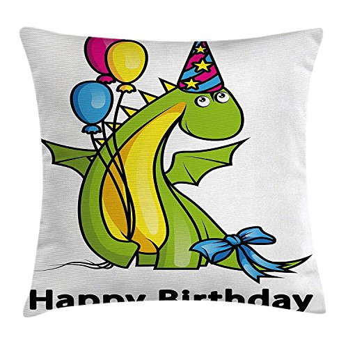 (Birthday Decorations for Kids Throw Pillow Cushion Cover, Little Baby Dinosaur Party with Colorful Balloons, Decorative Square Accent Pillow Case, 18 X 18 Inches, Fern Green and)