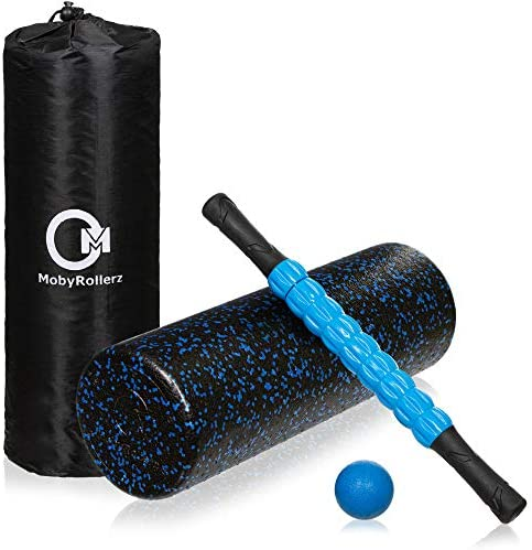 MobyRollerz Foam Roller Set – 18 Foam Roller, Massage Stick, Massage Ball – 4 in 1 Deep Tissue Massager with Travel Bag – Black and Blue
