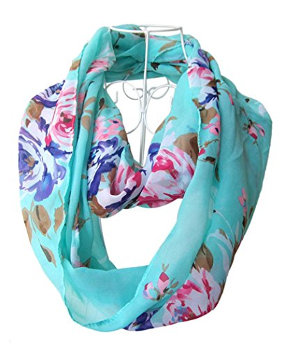 Infinity Flower (HONEYJOY Women Fashion infinity Flower Pattern Charming Print Shawl Scarf Wrap ( Green))